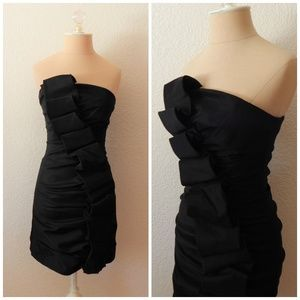 Holiday Black Ruffle Strapless Mini Formal Dress